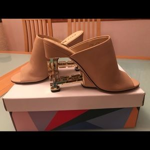 """Katy """"The Perry"""" chain link gold mules wedges"""